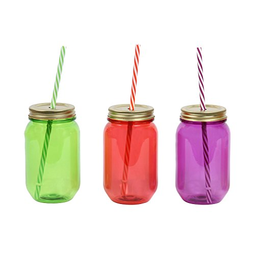 Assorted Plastic 16 oz. Mason Jar with Lid & Straw, Set of 3 (Plastic Color Mason Jars compare prices)