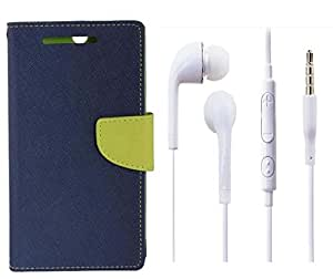 Novo Style Book Style Folio Wallet Case HTC Desire516 Blue + Earphone / Handsfree with 3.5mm jack