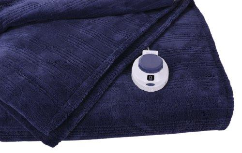 Soft Heat Ultra Micro-Plush Low-Voltage Electric Heated Triple Rib Throw, Nightshadow Blue