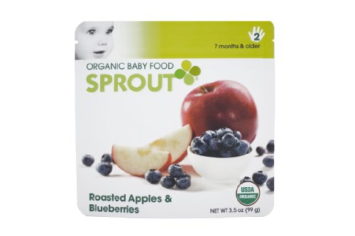 Sprout Organic Baby Food, Roasted Apples & Blueberries, Stage 2, 3.5-Ounce Pouches (Pack of 12)
