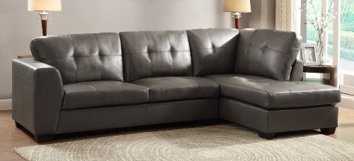 Homelegance 9688gy channel tufted 2 piece sectional sofa for Homelegance 2 piece sectional sofa