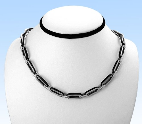 Stainless Steel Necklace/Chain - Polished with Rubber - Metal Material : 316L Stainless Steel - Necklace Length:18