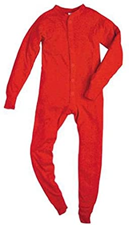Indera - Boys Rib Knit Union Suit, Red 23475-Small