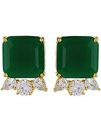 T&T Green Alloy Stud Earrings For Women(ER05)