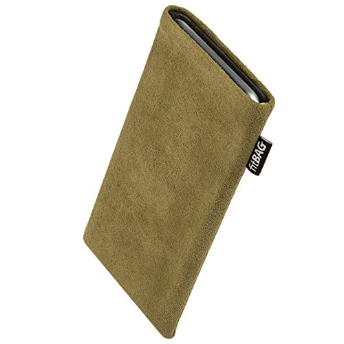 fitBAG Classic Khaki custom tailored sleeve for Nokia Lumia 830. Genuine Alcantara pouch with integrated MicroFibre lining for display cleaning