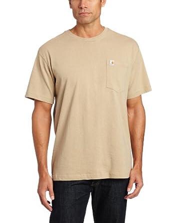 Carhartt Men's  Short Sleeve Pocket T-Shirt Lightweight Jersey Relaxed Fit,Dark Tan  (Closeout),Large