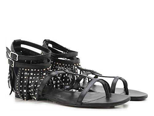 Sandali bassi Saint Laurent frange in pelle nero - Codice modello: 416400 B3400 1000 - Taglia: 41 IT