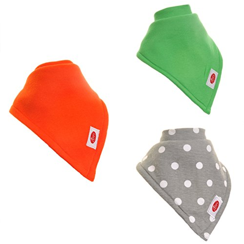 Zippy Large Absorbent Bandana Bib for Children&Adults - Absorbent 100% Cotton Front Drool Bibs with Adjustable Snaps (3 Pack Gift Set) Unisex Bright Colors - 1