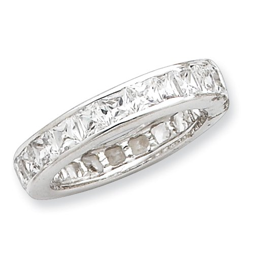 Sterling Silver CZ Eternity Band Ring Size 8 Real Goldia Designer Perfect Jewelry Gift