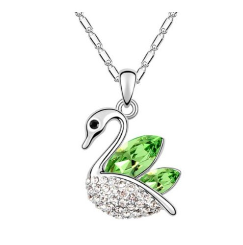 Mqueen Peridot Green Cute Swan Pendant Necklace front-974897
