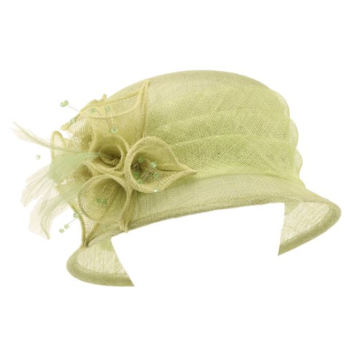 Summer Fancy 1920S Flapper Sinamay Trio Floral Cloche Bucket Church Hat Lime