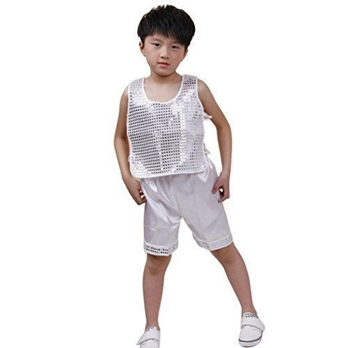 LIANTANG Boys Sleeveless Sequined Shirt with Pant Performance Costume Set