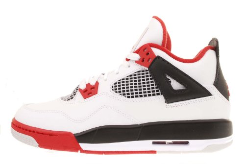 Youth Nike Air Jordan 4 Retro (GS) Edition White / Black / Varsity Red 408452-110 Size 7