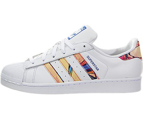 Adidas Originals Women's Superstar W Fashion Sneaker, White/White/Lab Blue, 7.5 M US