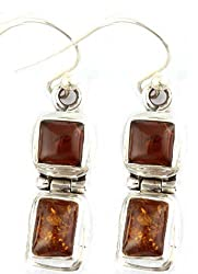 Exotic India Amber Earrings - Sterling Silver