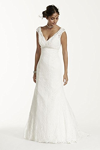 Extra Length Lace Trumpet Wedding Dress with Deep V Neckline Style 4XLT9612,...