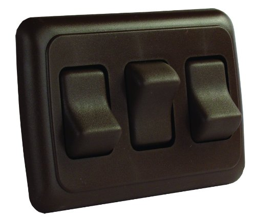 JR Products 12155 Brown Triple SPST On-Off Switch with Bezel (12v Rocker Switch Panel compare prices)