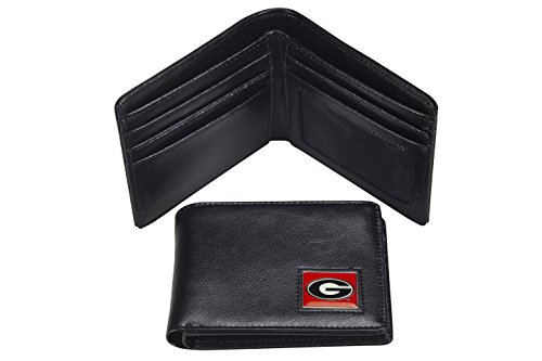 NCAA Georgia Bulldogs Men's Leather RFiD Safe Travel Wallet, 4.25 x 3.25