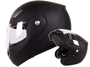 Modular Flip-up Motorcycle Helmet Matte Flat Black DOT #936 (Large) from Ivolution Sports, Inc