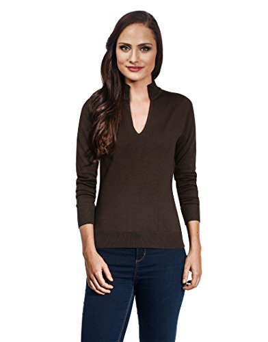 VB - Maglione da donna con scollo a V e Colletto Brown Small