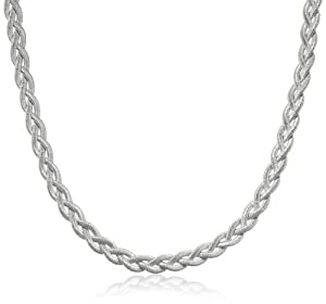 """Italian Sterling Silver Rhodium Plated Braided Necklace, 17"""" + 1"""" Extender"""