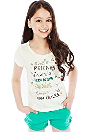 Cotton Rich Short Sleeve Assorted Slogans T-Shirt