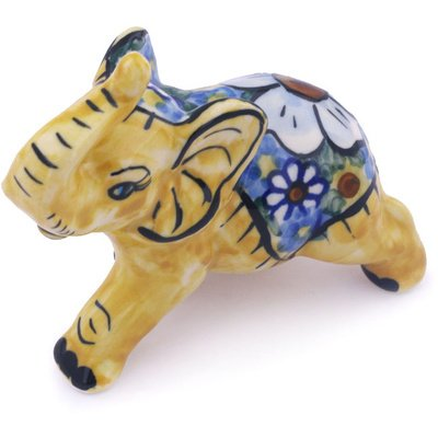 Polmedia Polish Pottery 4-Inch Stoneware Elephant Figurine H2781G Hand Painted From Wr In Boleslawiec Poland. Shape S239E(24D) Pattern P3548A(Rc4) Unikat