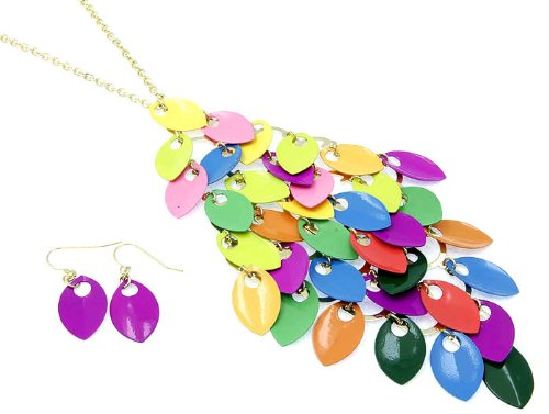 NECKLACE AND EARRING SET METAL CHUNKY MULTI Fashion Jewelry Costume Jewelry fashion accessory Beautiful Charms