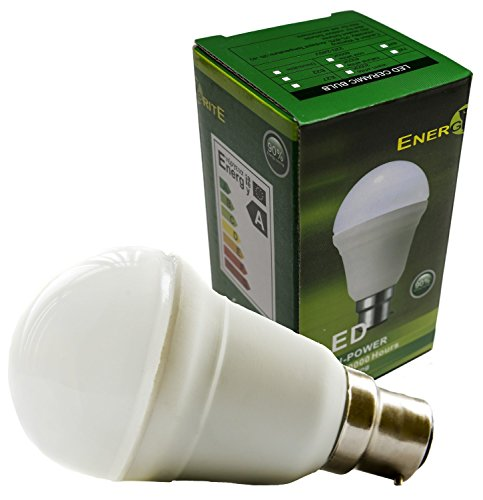 EnergyBrite, Dimmable 7w B22 Cap LED Bulb, Ceramic Globe Shape, Samsung LED Chips, Warm White 3000K, Energy Saving