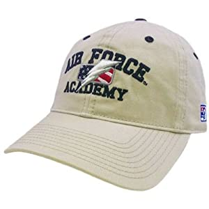 HAT CAP AIR FORCE ACADEMY LIGHTNING US FLAG KHAKI TAN FITTED 6 7/8 LICENSED NCAA
