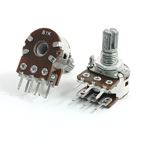 Uxcell 2Pcs B1K 1K Ohm 8 mm Shaft Single Linear Rotary Dual Potentiometer