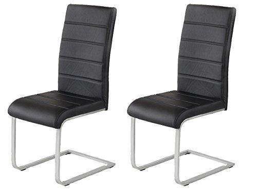 2 x Polsterstuhl Jan Piet ® mit hochwertigem PU Kunstleder schwarz Freischwinger