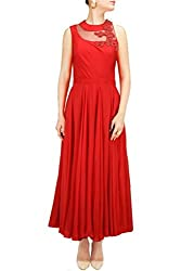 SK Clothing Red Color Gerogette Embroidered Semi_Stiched Dress For Women