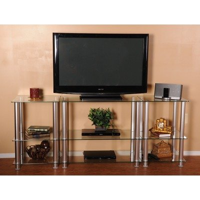 Cheap 82-Inch Extra Tall Glass and Aluminum LCD and Plasma TV Stand (Clear) (30″H x 82″W x 16″D) (TVM-0082)