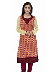 Yellow And Red Embroided 3/4 Sleeves Kurta