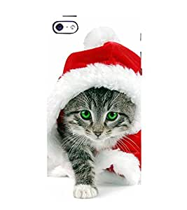 99Sublimation Cute Cat with Red Santa Cap and Blue Eyes 3D Hard Polycarbonate Back Case Cover for Apple iPhone 5