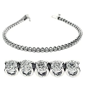 14k White Gold Diamond Bracelet - JewelryWeb
