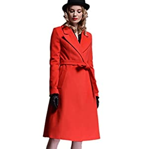 PlayColor Women's European Long Overcoat with Belt X-Large Red