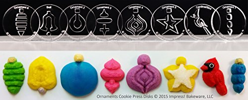 Ornaments 8 Disk Set for Cookie Presses (SIZE P disks for presses that came with PLASTIC disks)