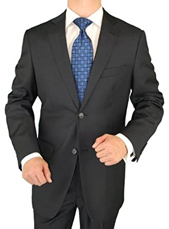 Giorgio Exclusive Platinum Label Italian Suit 100% Extra Fine Worsted Wool Super 150s 2 Button Jacket Plus Pants Charcoal (40 Regular)