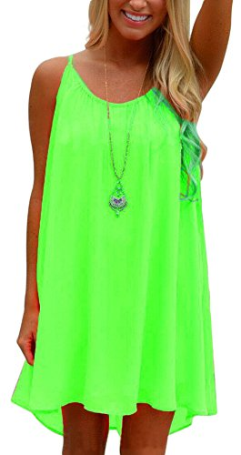 [EachWell Summer Women Loose Spaghetti Chiffon Strap Back Howllow Out Short Dress Green(XXL)] (Neon Party Outfits)