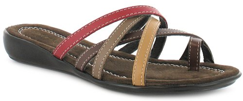 Womens/Ladies Brown Ever So Soft Toe Loop Strappy