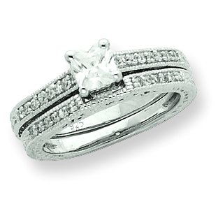 Sterling Silver 2-Piece CZ Wedding Set Ring. Metal Weight- 5.51g.