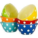 "Set of 6 Polka Dot Stoneware Bowls in Six Colors-4"" x 2"""