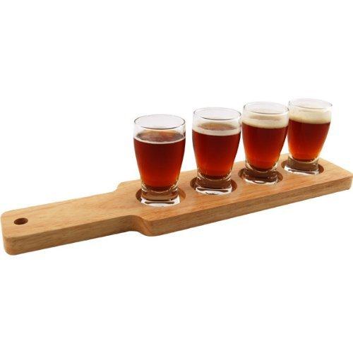 1 X Beer Tasting Serving Set - Wood Paddle & 4 Glasses