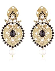 I Jewels Traditional Gold Plated Kundan & Stone Earrings For Women E2291B (black)