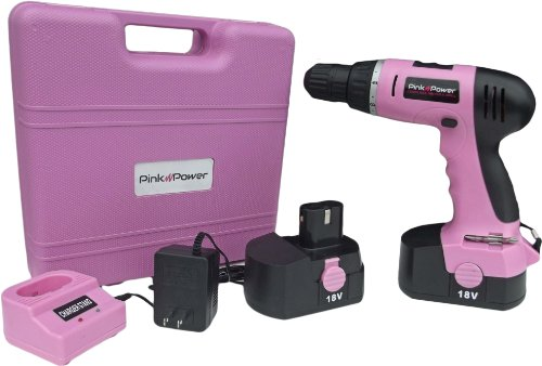 Pink Power PP182 18V Cordless Drill Kit for Women