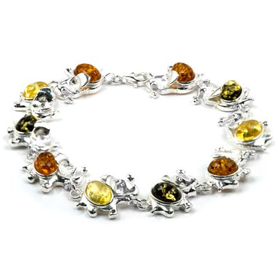 Baltic Multicolor Amber and Sterling Silver Elephant Bracelet, 7.75