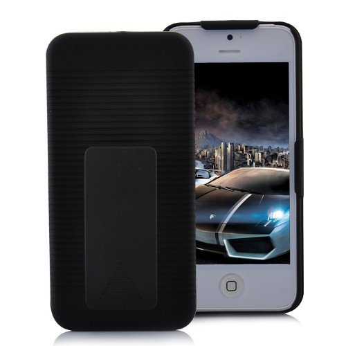 >>  Premium Black Holster Hard Case For th NEW Apple iPhone 5 With Locking Belt Swivel Clip (Verizon, AT&T, Sprint) - 2 Piece Case