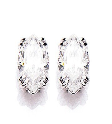 White Gold Cubic Zirconia Marquise Solitaire Earrings With Swarovski Elements